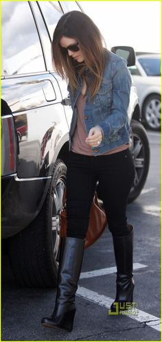 Rachel Bilson...minus jean jacket. I just bought some boots like that! yesss! I need some black skinny jeans though