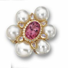 Tourmaline, cultured pearl and diamond flower pendant-brooch | lot | Sotheby's