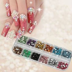 1200pcs New Nail Art Rhinestones Glitters Acrylic Tips Decoration Manicure Wheel (sparkling nail art, creative nails ideas, multicolor design inspiration)