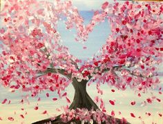 Paint Nite Pittsburgh | Cherry Blossom Love at at Level 20 Lounge Pittsburgh Paint Nite 01/20/2015
