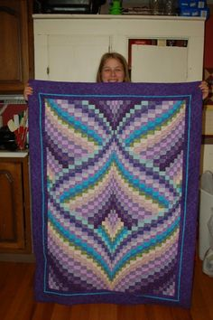 """Aurora Borealis"""" Bargello quilt by """"Ps 150"""" from the quilitngboard.com"""
