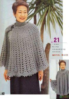 Crochet Cape, Crochet Poncho Patterns, Crochet Wool, Shawl Patterns, Knitted Poncho, Crochet Scarves, Crochet Shawl, Crochet Clothes, Crochet Stitches
