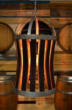 XL Wine Barrel Stave and Hoop Light -freaking awesome upcycle. Wine Barrel Crafts, Wine Barrel Rings, Wine Barrel Light, Wine In The Woods, Barris, Wine Barrel Furniture, Barrel Projects, Wine Stains, Bourbon Barrel