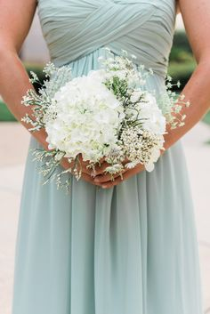 White Hydrangea and Wildflower Bridesmaid Bouquet   Simply Elegant Floral Decorators   Details by Martha   Ashley Nicole Photography