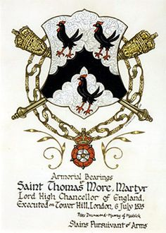 Thomas More's Coat of Arms. Blazon: Argent, a chevron engrailed between three moorcocks sable.