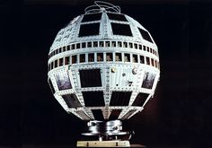 """Telstar 1. Launched on July 10, 1962, it was the first active communications satellite and transmitted the first live television pictures across the Atlantic. (credit: Alcatel Lucent/Associated Press) Mona Evans, """"Telstar - Herald of the Modern Age"""" http://www.bellaonline.com/articles"""