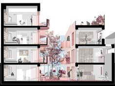 Winner Co-living Forest Gate Architecture Graphics, Islamic Architecture, Concept Architecture, Futuristic Architecture, Interior Architecture, Sections Architecture, Architecture Diagrams, Landscape Architecture, Architecture Presentation Board