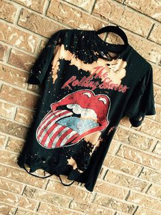 THE ROLLING STONES bleached, distressed band, concert T  shirt, rock n roll, heavy metal, Bridges to Babylon