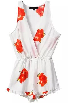 Deep V Neck Sleeveless Florals Orange Jumpsuit 18.00
