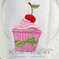 Machine Embroidery Design Cherry cupcake