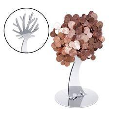 Der Design Münzmagnet - Baum ist ein ausgefallenes Geldgeschenk und ein dekorativer Halter für Deine Münzen.