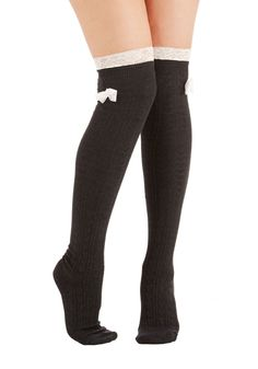 How 'Bout a Bow? Socks. Allow these charcoal socks to provide the perfect finishing touch to your look. #grey #modcloth