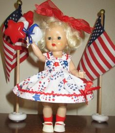 Ginny-Doll-Dress-set-PATRIOTIC-for-Madame-Alexander-Wendy-Muffie-NO-DOLL-4-PIECE