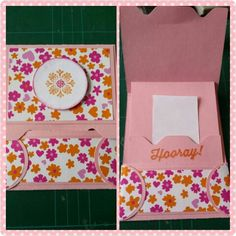 Gift card holder. Gemaakt met papier van de Hema, stampin up stempel uit de Sale-a-bration Perfect Pairings & madison avenue set met als inkt pumpkin pie & melon mambo. Hulpmiddel envelope punch board. [Made by Mandy] tutorial van Dawns stamping thoughts  : http://youtu.be/ApmnPQcuKzg