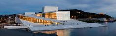 Oslo Opera House. The Oslo Opera House is the home of The Norwegian National Opera and Ballet, and the national opera theatre in Norway. The roof of the building angles to ground level creating a large plaza inviting pedestrians to walk up and enjoy the panoramic views of Oslo.