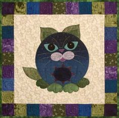 Bluepurry cat quilt block. StoryQuilts.com