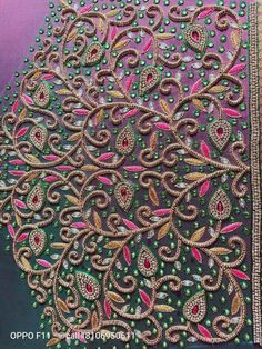 Rangoli Border Designs, Border Embroidery Designs, Hand Work Embroidery, Cutwork Blouse Designs, Fancy Blouse Designs, Bridal Blouse Designs, Magam Work Designs, Hand Designs, Magam Work Blouses