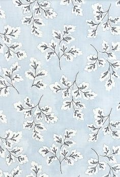 Meadow Leaf Cotton Curtain Fabric Powder blue cotton fabric with white and dark blue leaf print.