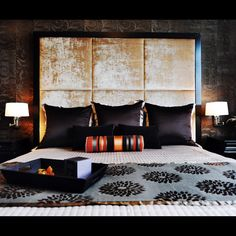 Crushed velvet headboard....could be your DIY weekend project.