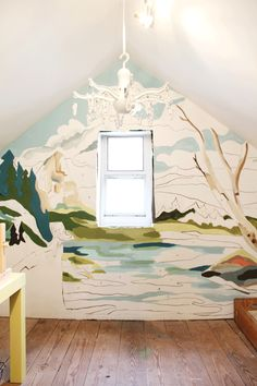 "Love this riff on ""in progress"" - paint by colors mural 