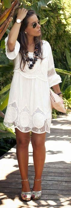 Lace Looks You'll Love White Lace Boho Chic Style Dress Cute Floral Pattern Shoes Summer Look 2015 -- This is totally cute!White Lace Boho Chic Style Dress Cute Floral Pattern Shoes Summer Look 2015 -- This is totally cute! Boho Fashion Summer, Look Fashion, Girl Fashion, Womens Fashion, Trendy Fashion, Dress Fashion, Street Fashion, Fashion Trends, Fashion Clothes