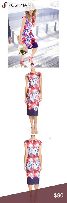 Vince Camuto Bloom Dress Chic and on trend this Vince Camuto bloom sheath is a staple for your summer wardrobe. Brand new, tags attached. No trades  Vince Camuto Dresses Midi