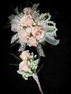 Pink spray roses with pearl accents