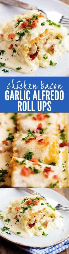 Bacon Garlic Alfredo Roll Ups These Chicken Bacon Garlic Alfredo Roll Ups will be the BEST meals that you will make!These Chicken Bacon Garlic Alfredo Roll Ups will be the BEST meals that you will make! Pasta Recipes, Chicken Recipes, Dinner Recipes, Cooking Recipes, Recipe Pasta, Recipe Chicken, Chicken Meals, Chicken Pasta, Alfredo Chicken Roll Ups