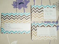 zig zag modern wedding invitation suite.