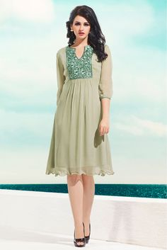 Georgette Party Wear Kurti in Beige Colour.It is crafted with Embroidery Design...