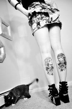 #tattoos #legs #calves #calf #faces #roses #face #gypsy #rose #black #girl