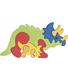 Colourful and tactile, this adorable Triceratops dinosaur educational puzzle by Fauna Wooden Toys is made in Hungary from sustainable. Scroll Saw Patterns Free, Wood Patterns, Intarsia Woodworking, Woodworking Projects, Puzzles For Toddlers, Animal Puzzle, Got Wood, How To Make Toys, Wooden Puzzles