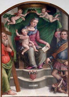 Agnolo Guidotti,  Madonna in trono con Gesù Bambino  e i santi Andrea e Michele Arcangelo ,chiesa di Sant'Andrea a Pulicciano