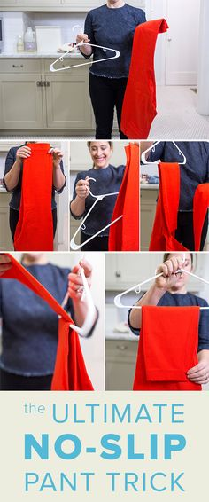 If you're frustrated by the fact that your pants never stay on the hangers, this trick is for you. Try folding your pants this way and they might never fall off of the hangers again.