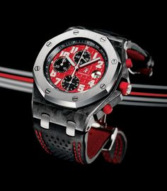 Audemars Piguet Royal Oak Offshore Singapore F1 race special edition chronograph 26190OS.OO.D003CU.01. Watch case is forged carbon with a stainless steel bezel.  Movement is the self winding Audemars Piguet calibre 3126/3840