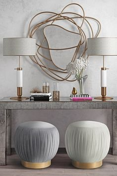 Tulip Cream Velvet Ottoman by TOV Furniture on @HauteLook