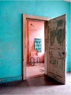 into the warm room #turquoise #door