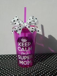 Keep Calm i'm a super mom or teacher acrylic by TheHomeMadeHoliday, super mom, super teacher, teacher gift, custom cup, keep calm, mothers day gift