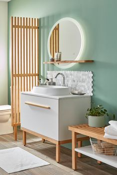 GoodHome Adriska Natural Room Divider - B&Q for all your home and garden supplies and advice on all the latest DIY trends Bathroom Interior Design, Modern Interior Design, Cabnits Kitchen, Wood Partition, Diy Room Divider, New Kitchen Designs, Toilet Design, Upstairs Bathrooms, Wood Bathroom