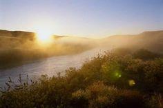 size: Photographic Print: Sunrise Through Fog on the Loup River in the Nebraska Sandhills by Michael Forsberg : Windmill, Nebraska, Cattle, Find Art, Framed Artwork, Sunrise, Country Roads, River, Poster