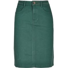 Per Una Denim A-Line Pencil Skirt ($44) ❤ liked on Polyvore featuring skirts, green, stretch skirt, knee length denim skirt, zipper pencil skirt, green pencil skirt and a line skirt