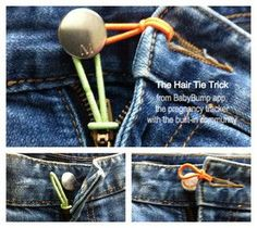 Pregnancy trick for when you start growing out of your jeans but aren't quite ready for maternity clothes. Used this hair elastic trick a lot!
