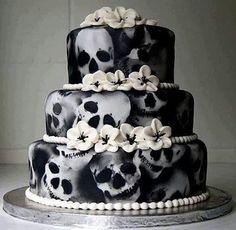 Skull Cakes (cake ideas for a Gothic wedding, Yule/Winter Solstice, or for Halloween (Samhain) Skull Wedding Cakes, Gothic Wedding Cake, Gothic Cake, Skull Cakes, Wedding Fun, Wedding Ideas, Cake Wedding, Cream Wedding, Wedding Inspiration