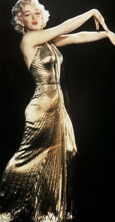 Marilyn wearing the Gold Lamé  Travilla Dress created for  Gentlemen Prefer Blondes;1953