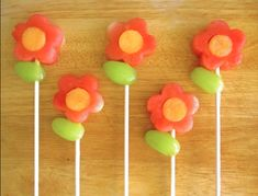 Fruit flowers are healthy and pretty foolproof class snack.