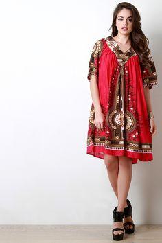 V-Neck African Dashiki Print Dress