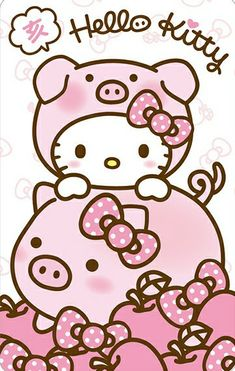 Hello Kitty Year Of The Pig Wallpaper Pig Wallpaper, Sanrio Wallpaper, Hello Kitty Wallpaper, Kawaii Wallpaper, Iphone Wallpaper, Hello Kitty Art, Hello Kitty My Melody, Hello Kitty Birthday, Sanrio Hello Kitty