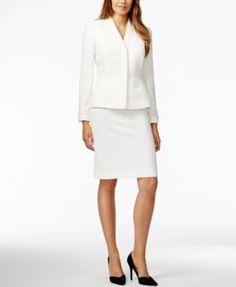 Tahari ASL Beaded-Trim Skirt Suit
