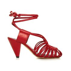 Isabel Marant Étoile Milly leather cage sandals (£475) ❤ liked on Polyvore featuring shoes, sandals, red, red leather shoes, isabel marant sandals, 1980s shoes, red sandals and genuine leather shoes