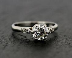 Diamond Engagement Ring  Vintage 1950s Diamond by AlistirWoodTait, $8,368.24